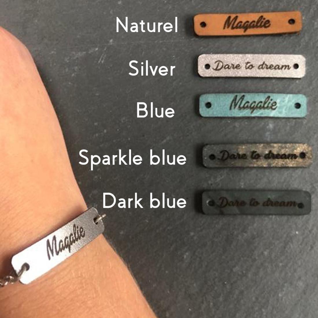 Leather bracelet tag