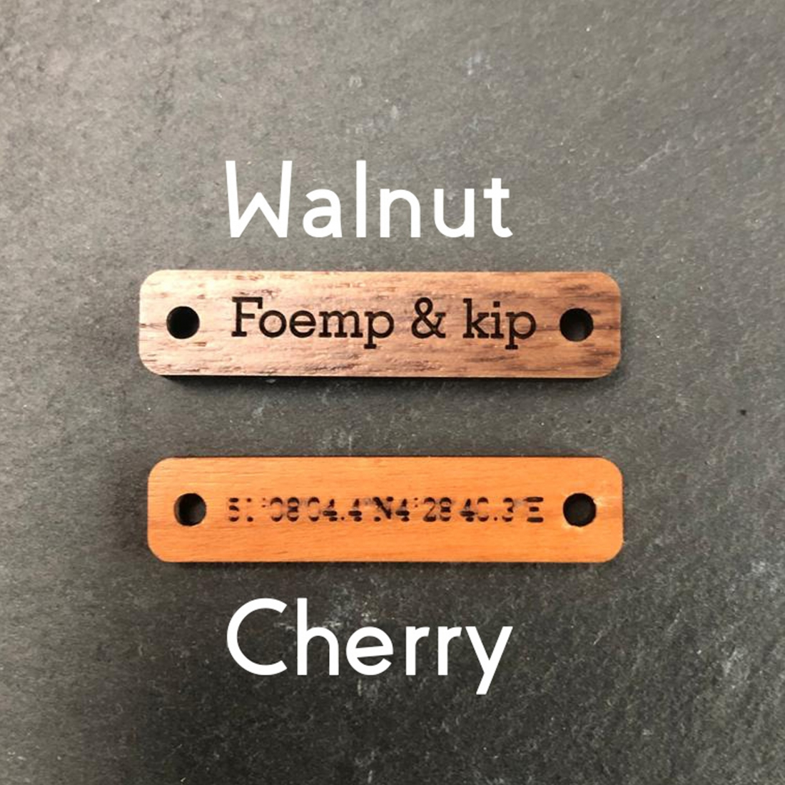 Bracelet with wooden tag